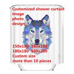 Rideaux de taille personnalisée en Ligne-Livraison gratuite Logo personnalisé photo rideau de douche image polyester imperméable 4 tailles rideau de douche pour la salle de bain avec 12 crochets