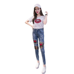 high rise jeans Promo Codes - Russia lady Lace Jeans Summer tide slim Thin Jeans blue Denim Pencil Pants buttons Wear holes patchwork Mesh Rose flower embroidery