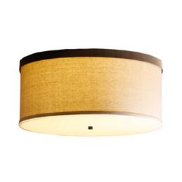 Illuminazione a soffitto tonda online-Porcellana Plafoniere a LED in tessuto bianco rotondo E27 Dia 45 50CM lampade a soffitto lampade a sospensione per Foyer Hotel illuminazione domestica F112