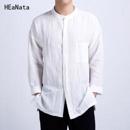 5075f10ad318b91 Китайский стиль повседневные рубашки мужчины хлопок белье дизайнер бренд  человек рубашки с длинным рукавом Белый Ретро хлопок Мужская одежда 4XL  дешево ...