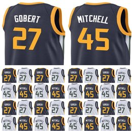 Wholesale New 27 - Men's 2018 New Draft Picks 45 Donovan Mitchell Jersey Blue White 27 Rudy Gobert Embroidery stitched Jerseys Fast Free Shipping