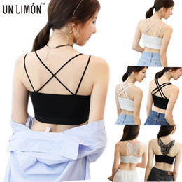 Wholesale Black Tank Pad - UNLIMON New Arrival Hot Women Camisoles Ice Silk Short Tanks With Chest Pads Ladies Gym Vest Free Shipping