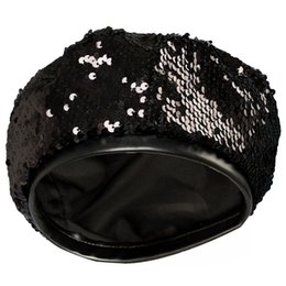men sequined hats Promo Codes - Retro Sequined Beret Hat Adjustable Flat Top Beret Cap For Women