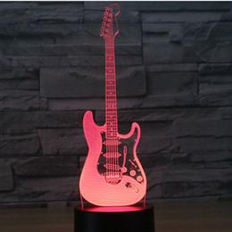 2019 led-beleuchtung e-gitarre 3D Illusion LED Nachtlicht E-Gitarre 7 Farben Licht Home Decoration Lampe Weihnachtsdekoration # T56 günstig led-beleuchtung e-gitarre