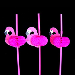 Wholesale Wedding Favors Holders - 25pcs Flamingo on Paper Straws Wedding birthday Engagement Hawaiian Luau Decoration Tropical Drinks tea party favors wn122