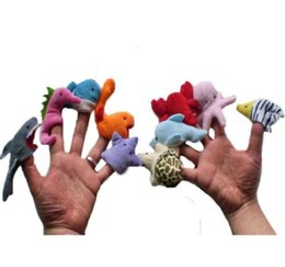 Wholesale ocean kids - 10pcs 1set Ocean Animals Finger Puppets Plush Toys Family Story Telling Play Hand Puppets Dolls Baby Kids Educational Doll KKA5562