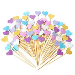 Stile cupcakes online-10 pz Pink Style Toppers Cupcake Originalità Dessert Disposizione Tavolo Amore Cuore Torta Stuzzicadenti Bandiera Vendita Calda 1 5 Ww