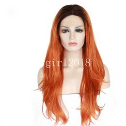 Wholesale yellow lace wig - Ombre Lace wig Light Long body wave Synthetic Lace Front Wig Glueless TwoTone Black yellow Heat Resistant Hair Women Wigs