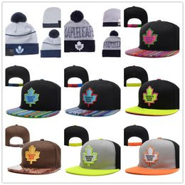 Wholesale One Leaf - Toronto Maple Leafs Ice Hockey Knit Beanies Embroidery Adjustable Hat Embroidered Snapback Caps Black Blue Gray White Stitched Hats One Size