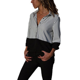 a3706a1b56 2018 OL Lady New Sexy Turn down collar Chiffon Blouse Long Sleeve Pockets  Koszula Striped Sweet Causal Loose Shirts Shirt Tops