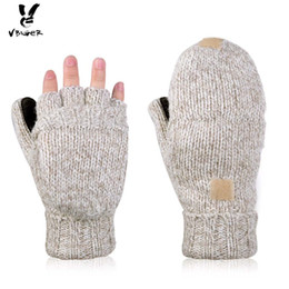 Guantes medio dedos voltear online-Vbiger Unisex Winter Gloves Warm Wool Flip Top Guantes Flocking Warm Knitted Half-finger Gloves para Hombres Mujeres D18110806