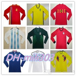 Wholesale Mailing S - World Cup 2018 Germanys Home Men's Long Sleeve Soccer Jerseys Futbol Camisa Spain Belgium Argentina Colombia Mexico Camisetas Shirt Mail