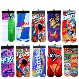 Wholesale Peach Drinks - Hot Sock Famous Drink 3D Printing Basketball Socks Men Cotton Compression Socks Junk Food Fries Chocolate Printed Novelty Sock