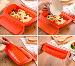 Wholesale Touring Package - New Fashion 1-2 Person Silicone Lunch Boxes Steam Case Steamer Kitchen Gadget Tool for Oven Microwave without Draining Tray Kitchen Tools