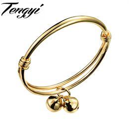 Wholesale Baby Bangle Bells - whole saleTENGYI Fashion Gold Color Lovely Children Kid Boy Girl Infant Baby Bangle Bracelet Gift Lucky Newest Bells Bangle TY487