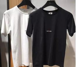 Wholesale Women Cotton Shirt - Runway Fashion Letter Design Men's Casual Cotton short sleeve SAINT LAURE T Shirts Women Slim Asian size S-XL