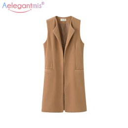 Wholesale Plus Size Office Jackets - Women Autumn Spring Wool Blend Vest Waistcoat Lady Office Wear Long Waistcoat Women Coat Casual Sleeveless Vest Jacket Plus Size
