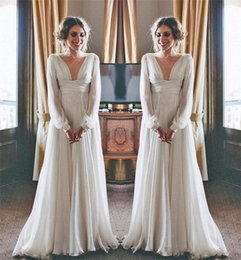 Wholesale Greek Sleeves - 2018 Hippie Boho Beach Wedding Dresses Long Sleeves V Neck Plus Size Chiffon Cheap Summer Maternity Country Greek Style Bridal Gowns