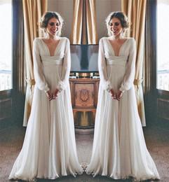 Wholesale princess greek dress - 2018 Hippie Boho Beach Wedding Dresses Long Sleeves V Neck Plus Size Chiffon Cheap Summer Maternity Country Greek Style Bridal Gowns