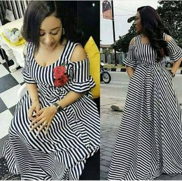 Wholesale off shoulder stripes dress - african dresses for women Dashiki Dresses bazin riche traditional african clothing short Sleeve off shoulder sexy stripe maxi dress