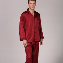 2019 pijamas de seda Pijamas de manga larga de primavera otoño rojo hombres Set suave satén 2PCS ropa de noche Kimono vestido de albornoz ropa de hogar sedosa más tamaño XXXL rebajas pijamas de seda