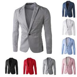 Großhandels-Beiläufiger Mens-Klage-mit Kapuze eine Knopf-Männer-roter Blazer  draußen dünne passende Jacken-Mann-lange Hülsen-8 Süßigkeit-Farben-Anzüge  plus ... 3337a8ef5e