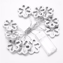 Wholesale battery snowflake - 1.2M 10LED Wooden Snowflake LED Christmas String Lights for New Year Party Christmas Holiday Wedding Home Decor