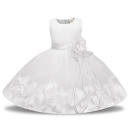 Vestido vermelho infantil on-line-Rosa Vermelho Azul Malha Flower Girl Dress para Casamentos Infantil vestido de Baile Primeira Comunhão Baptismo Branco Vestido de Bebê para Batizado