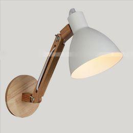 Wholesale Wood Knobs - Classical Adjustable Swing Arm Wall Lights Hard Wood Shore BedRoom wall Lamp Decors Loft Lighting Nordic lamp e27