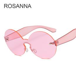 Wholesale Yellow Glass Candy - ROSANNA 2018 Candy Colored Sunglasses Women Round Sun Glasses Yellow Blue Pink Transparent Eyewear Ladies Circle Sunglass