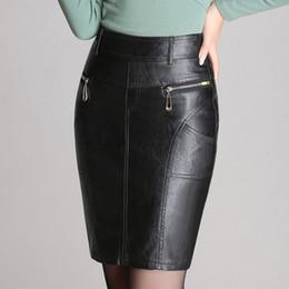 Wholesale Plus Size Faux Leather Skirts - Wholesale- Autumn Winter Zipper Women's Leather Skirts Slim High Waist Sexy PU Pencil Skirt Plus Size Black Women Office OL Skirt M-4XL