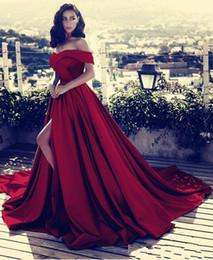 v collo fuori spalla abito da sera Sconti Rosso scuro al largo della spalla abiti da sera in raso 2019 sexy alta spacco scollo av abiti da ballo abiti da fiesta ba6777