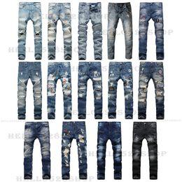 2019 тощие джинсы для мужчин Мода ретро мотоцикл байкер джинсовые брюки уничтожены прямые отверстия узкие джинсы брюки вышивка дизайн, пригодный для мужчин новый стиль скидка тощие джинсы для мужчин