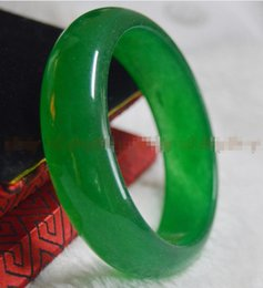 Braccialetti genuini di giada online-Genuine Natural 62mm Green Jade Bangle Bracelet Real Natural Una giada verde