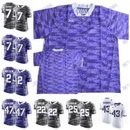 Wholesale purple frogs - Custom NCAA TCU Horned Frogs College Football #6 Darius Anderson 18 Jalen Reagor 7 Kenny Hill 33 Sewo Olonilua Jerseys White gray purple