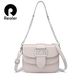 REALER бренд лакированные кожаные сумки для женщин мода мешок посыльного  женщин высокое качество Цепь плеча сумка женская тотализатор белый 2037b0b6c4a