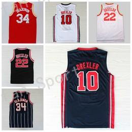 Wholesale Usa Team - Retro Basketball Jerseys 34 Hakeem Olajuwon 22 Clyde Drexler Throwback Vintage 1992 USA Dream Team Red Navy Blue White Stitched With Name