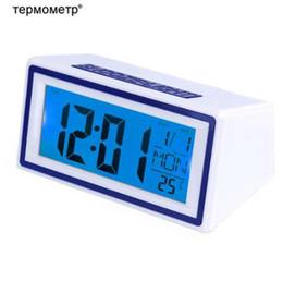 Wholesale mini desk alarm clock - Gift Ideas Sound Control Digital Travelling Alarm Clock Desk Table Mini Car Clock with Temperature Thermometer Calendar Timer