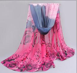 Wholesale Arabic Scarfs - 2018 rose print chiffon polyester scarves woman thin shawl turban belt hijab fashion arabic scarfs wrap