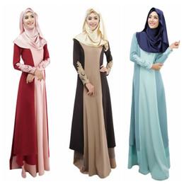 Mujeres islámicas kaftan online-Vestido de cóctel musulmán Kaftan Abaya mujeres manga larga vintage Maxi islámico