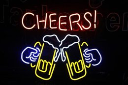 """bierzeichen lichter für bars Rabatt OHANEE maßgefertigten 17 """"x14"""" prost Echtglas Neon Sign Light Beer Bar Pub Speicher Kunst Handgefertigte Geschenke Beleuchtung"""