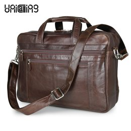 Wholesale leather laptop 17 - UniCalling luxury genuine leather large men bag premium cow leather business bag laptop 17 inch fashion luggage