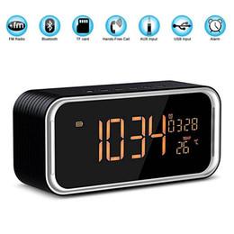 altavoces de coche de audio de cristal Rebajas MUSKY DY33 Altavoz portátil Bluetooth Inalámbrico Altavoces Bluetooth con manos libres Radio FM Hora Fecha Temperatura Doble Reloj despertador DY33L