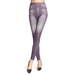 Wholesale Printed Elastic Jeggings - Brand New Women's Printed Slim High Elastic Jeggings Fake Jeans Women Leggings Casual Fashion Pencil Pants Plus Size Top 2016