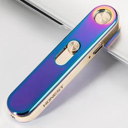 Cigarro eletrônico nova moda on-line-New hot HONESTO USB recarregável isqueiro isqueiros à prova de vento ultra-fino de metal eletrônico cigarro isqueiro para homens e mulheres moda presente
