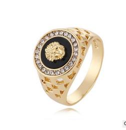 Wholesale Livraison gratuite Wish Hot vente européenne et américaine Style Diamond Lion Head Ring bijoux pour hommes en gros
