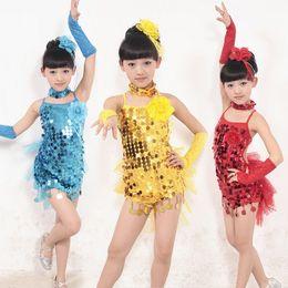 Современные платья онлайн-Children Latin dance skirt girls modern performance clothing shiny sequins lace flower Children's Day kids latin salsa dresses