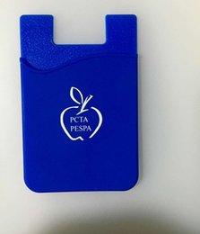 Suporte móvel móvel on-line-Personalizado logotipo Universal 3 M Sticky celulares telefones Carteira de Silicone Auto Adesiva Cartão de Bolso Cobre Carteira de Crédito titular do cartão Inteligente