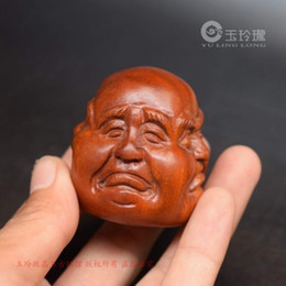 Wholesale Tibetan Bags - Collectibles Chinese Hand Carved wooden Tibetan Buddhism Buddha head Statues
