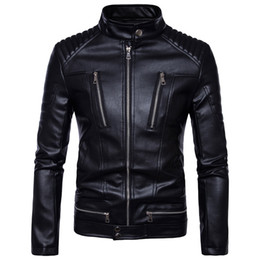 Wholesale polyester leather jacket - 2017 famous brand mens faux fur coats clothes fashion pilot motorcycle imported pp skull leather jacket men slim fit B013